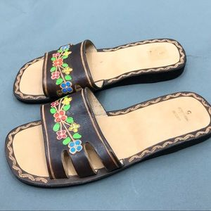 Leather Tooled Mexican Sandals Size 5 Brown